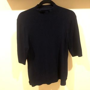 Ann Taylor navy half sleeve turtleneck sweater L